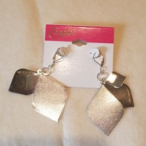 Candie's Silver and Graphite toned earrings.